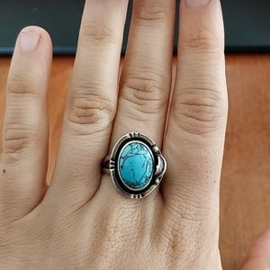Turquoise ans Sterling Silver Ring (Sz 12)